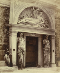 Central Doorway Of The Renaissance Court, The Nymph Of Fontainebleau By Cellini, And Caryatides By Jean Goujon, From The Louvre